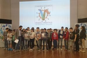 """[I ragazzi della I B della scuola secondaria """"G. Pascoli"""" di Portogruaro presentano un video a Padova]"""