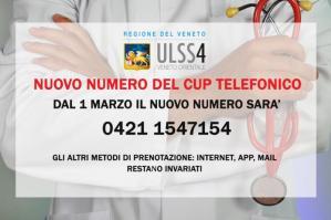 [Ulss4, nuovo numero del CUP telefonico]